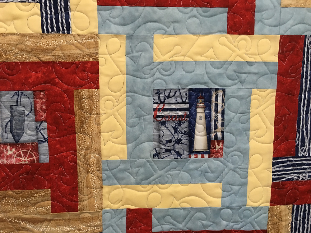 close up of Lisa Nautical quilt for dad
