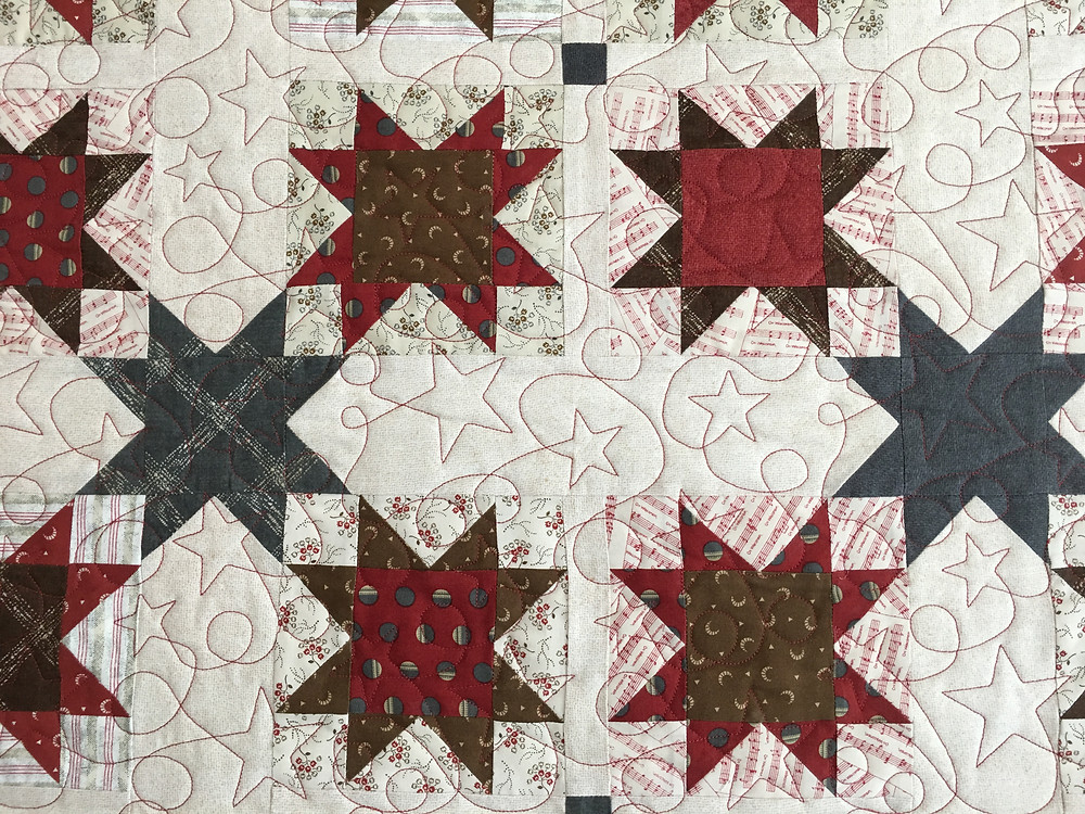 Stars quilting pattern on Wisconsin All Stars Quilt by Joan Salesman
