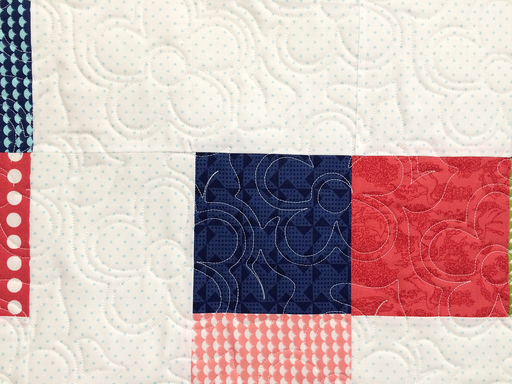 closeup of floral quilting design on No Bake Gooseberry Quilt