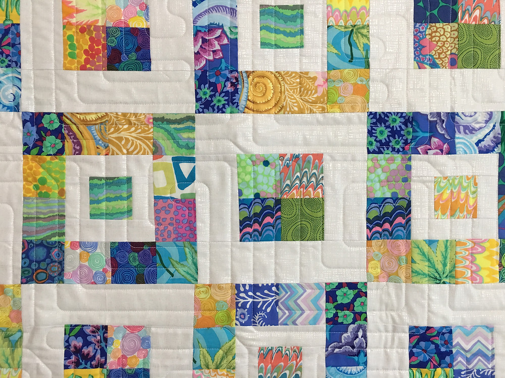 Geometric Quilting Pattern on Royal Boxes Quilt by Nancy Nesbaum