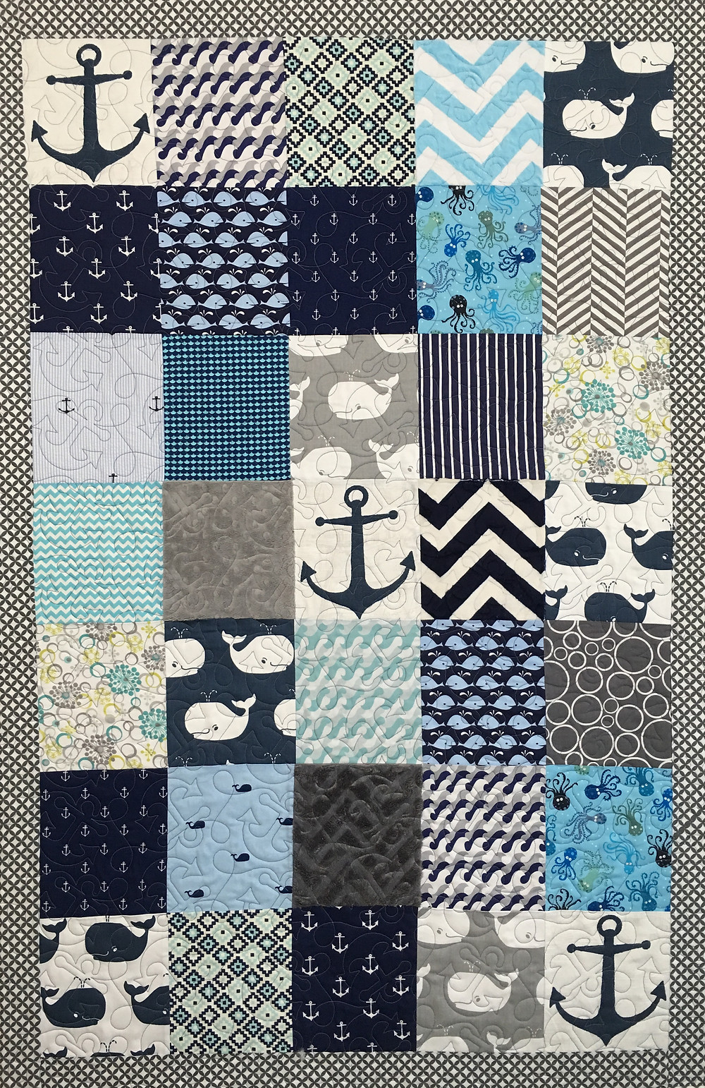 Sherryy's Nautical Baby Quilt in shades of blue