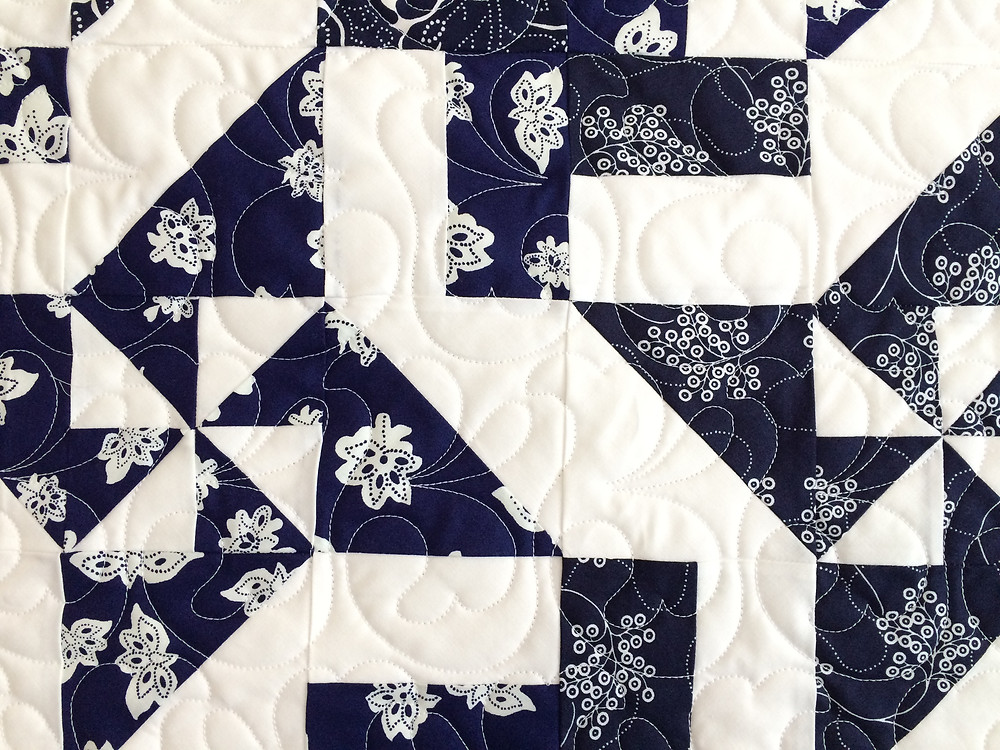 closeup of Julianna Bolen Disappearing Pinwheel Quilt