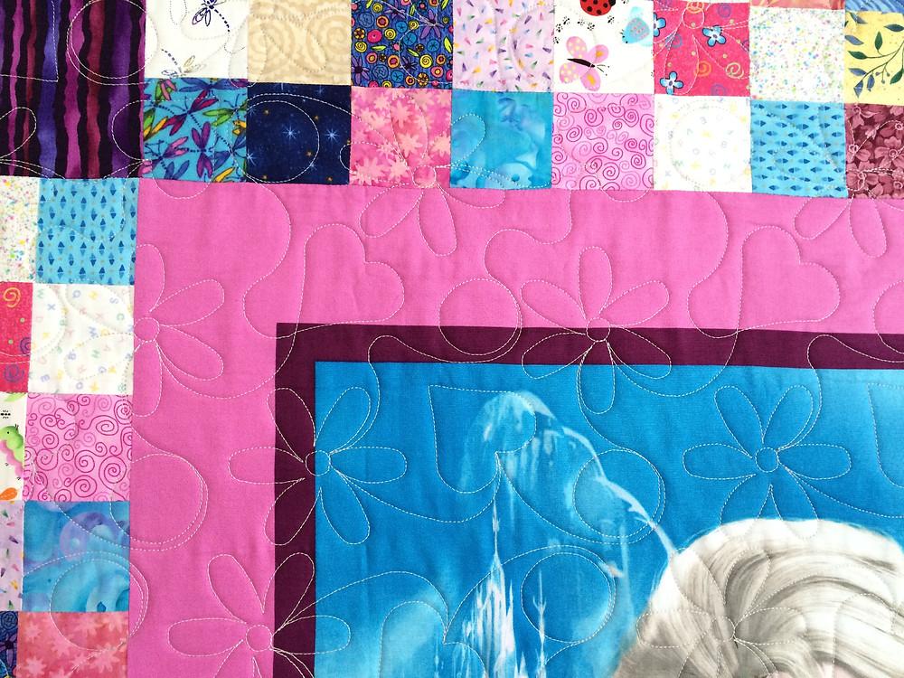 Close up of Kristi Jones Disney's Frozen Quilt