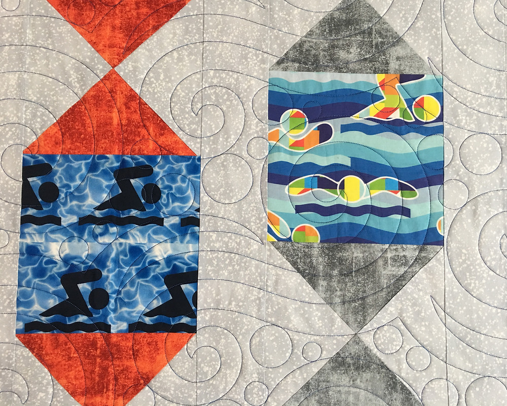 Seafoam quilting pattern on Swimmer Quilt by Nelda Savage
