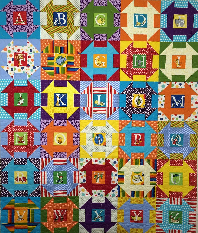 Doctor Seuss alphabet quilt with alpha motifs