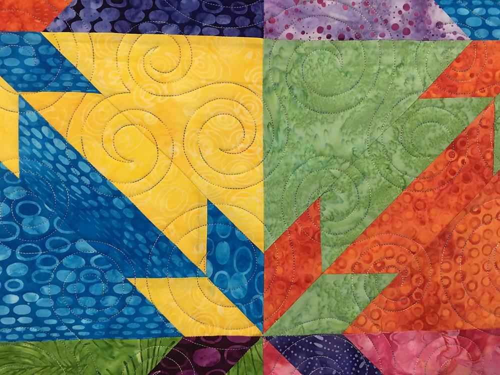 Swirls quilting pattern on Multi Color Hunter Star by Nicole Choiniere Kroeker