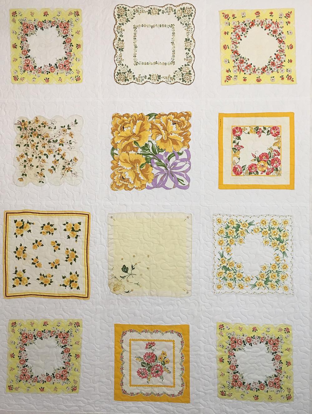 Appliqued Vintage Hankie Quilt by Susan Abram