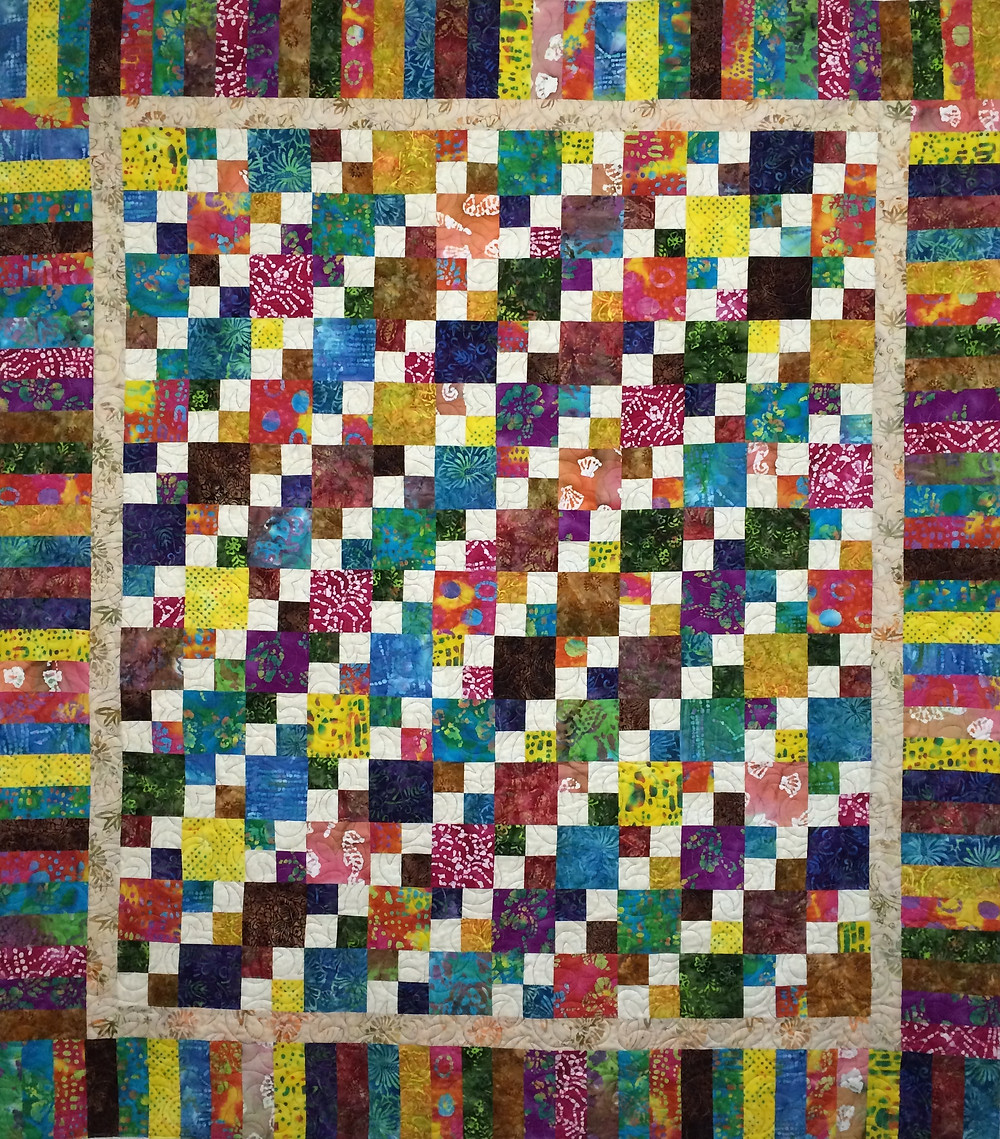 Liberty Colorful Four Patch Quilt