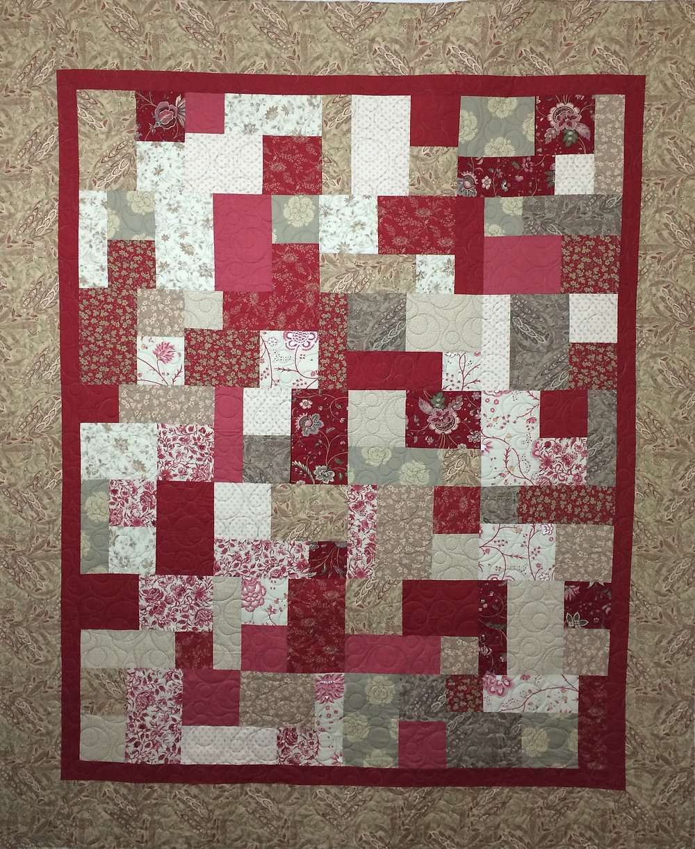 shades of red and white quilt