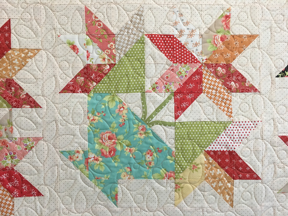 Leaves Quilting Pattern on Flowers in Pot Quilt by Deb Taylor