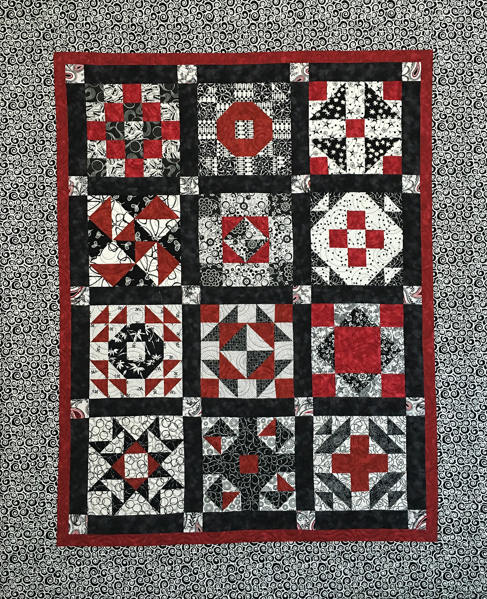Red and Black Sampler Quilt by Debbie Seitz