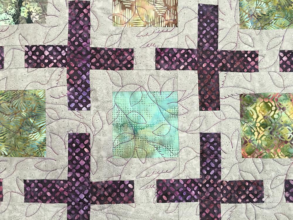 Closeup of Carolynn Seward Floating Squares Quilt