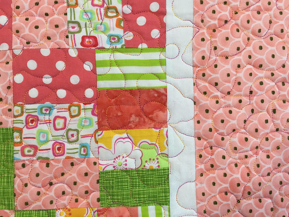 close up of Teddy Bears on Laura's Baby Quilt