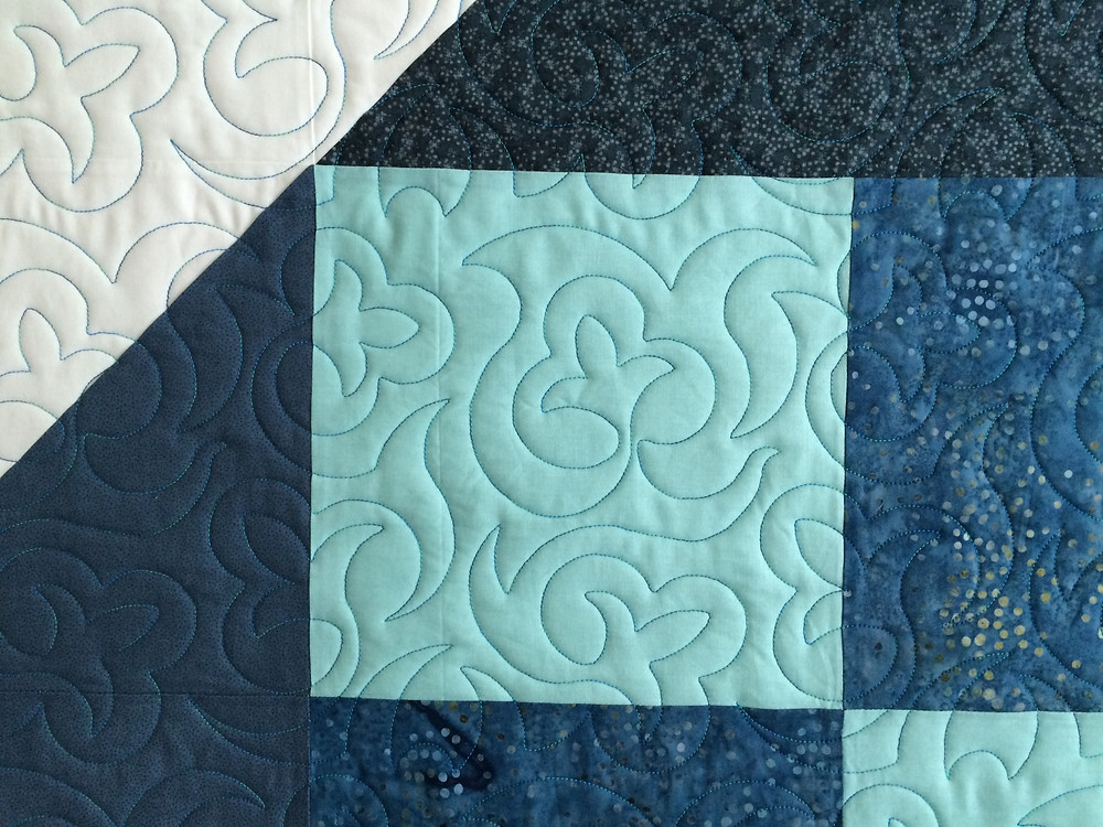 Close up of Heather Johnson Star Quilt in shades of blue