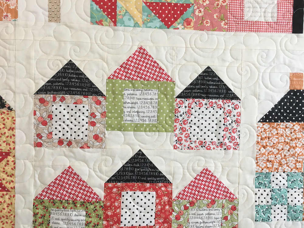 Flowers Quilting Pattern on Sampler of Houses by Sally Matoushek