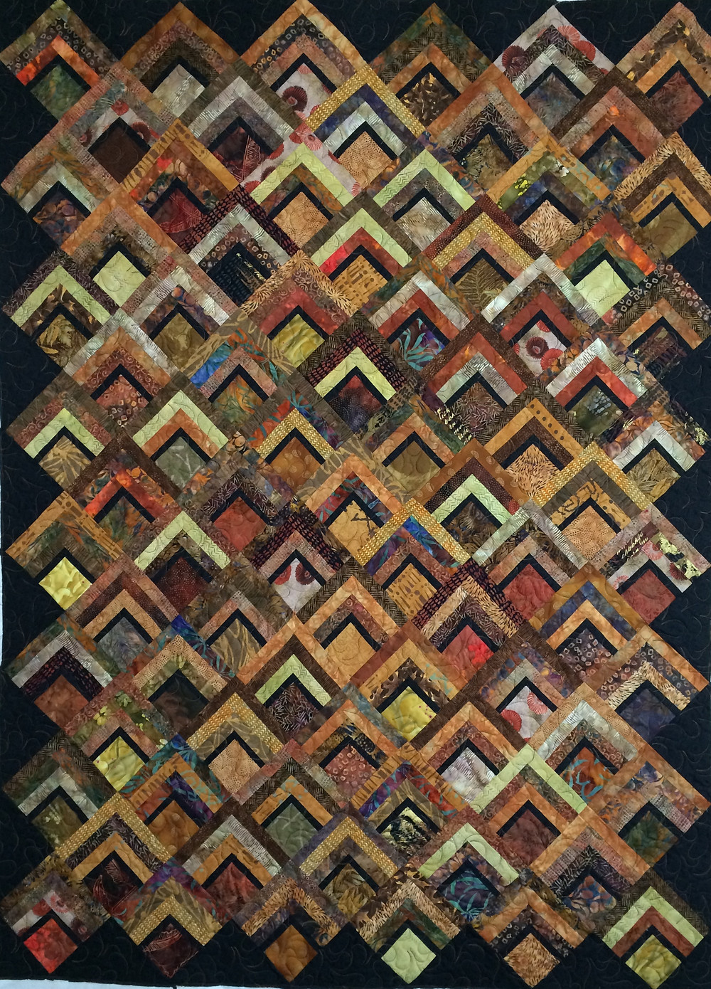 Sue Brown and Black Offset Log Cabin Quilt