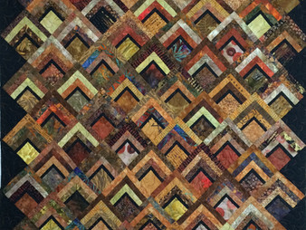 Sue Antle Brown and Black Offset Log Cabin Quilt