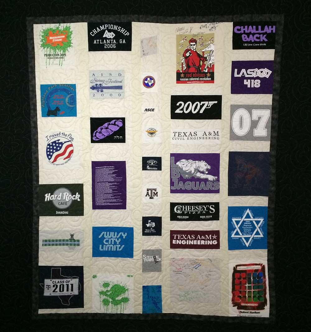 t-shirt quilt  with jaquars panels