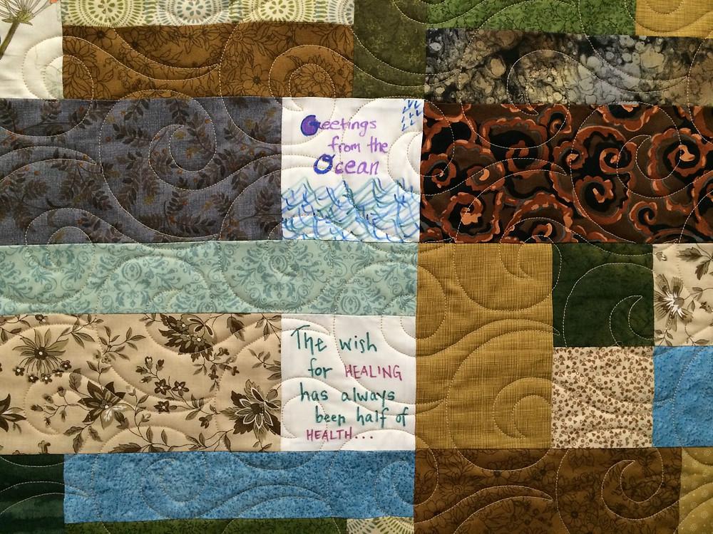 Closeup of Swirls Quiltng pattern on Turning Twenty Quilt by Jill Seward