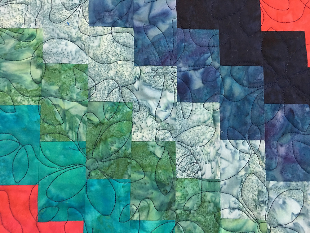 Springtime Quilting Pattern on Trip Around the World Quilt by Elsa Murray