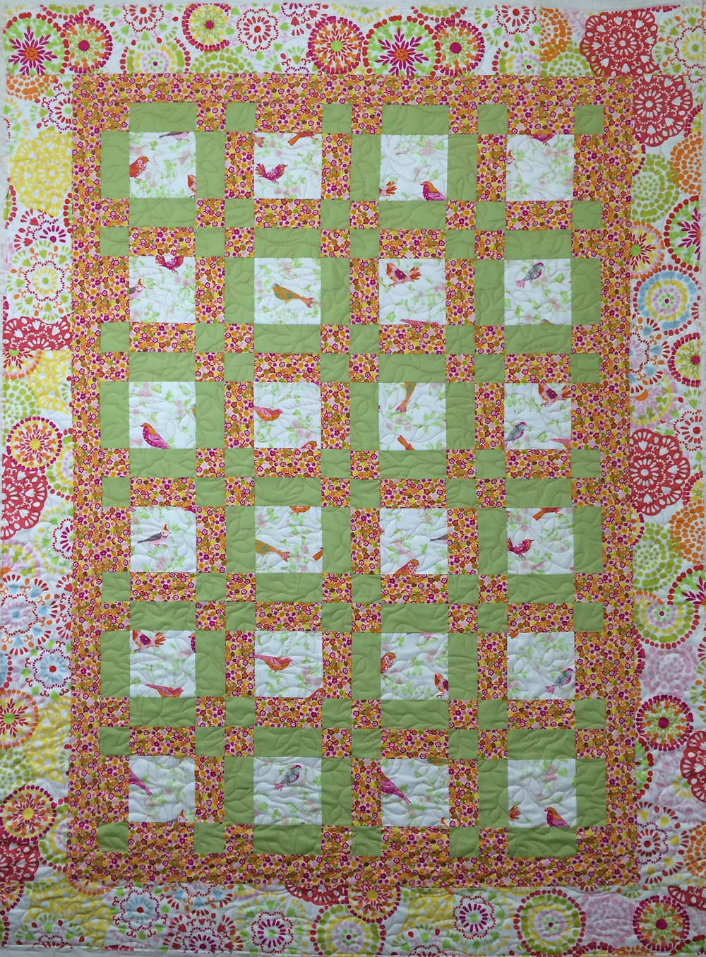 colorful bird quilt with green sashing