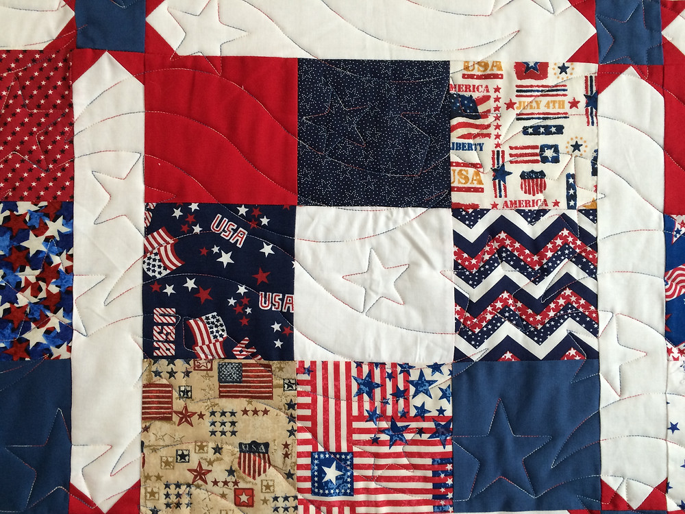 close up of Wendy Bell Patriotic Quilt