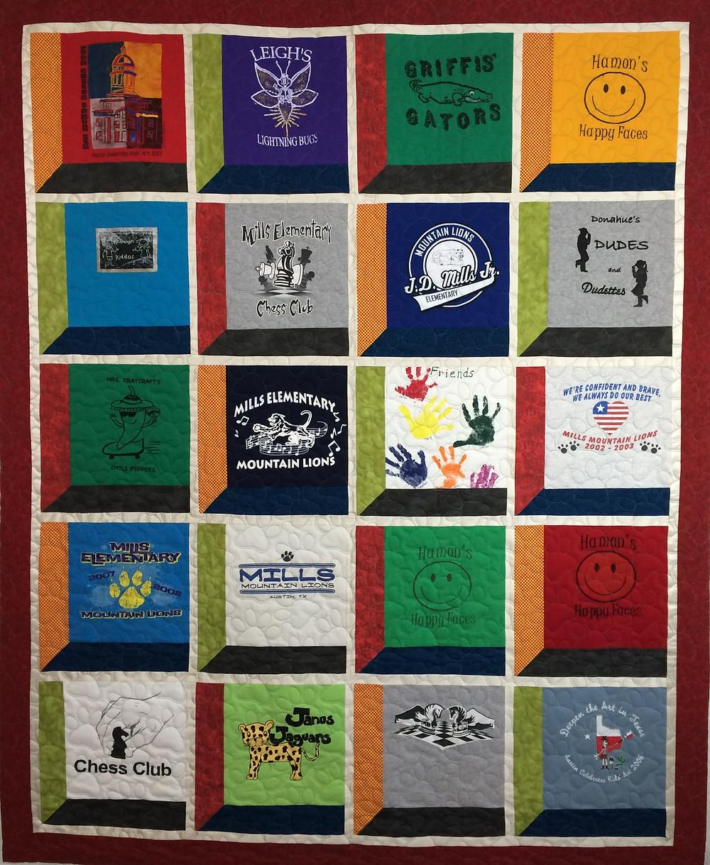 school t-shirt quilt set in window panes