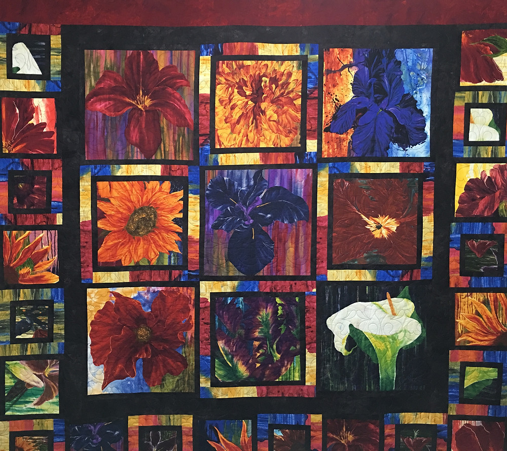Beth Multi Flower Quilt in bright colors