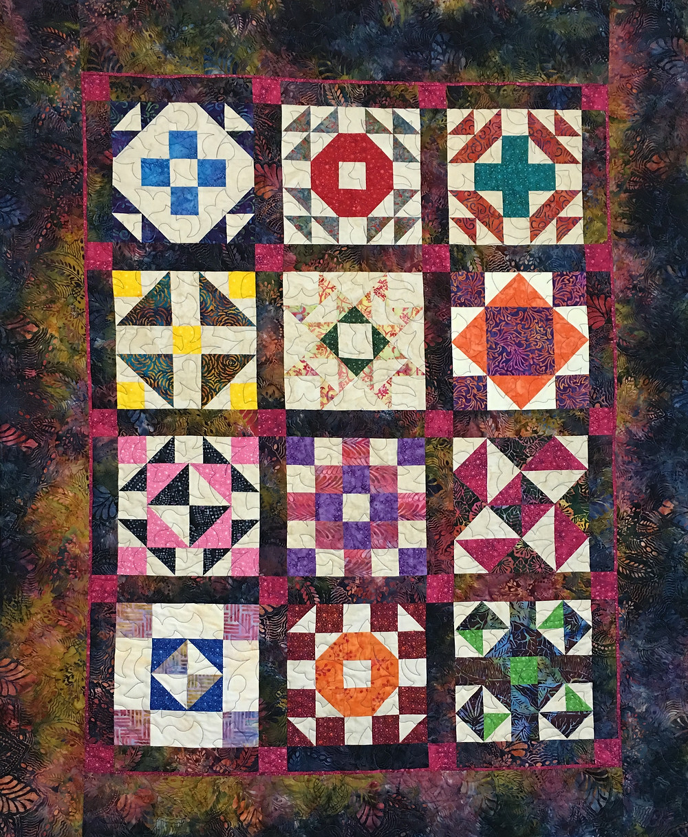 Multi color Batik Sampler quilt by Debbie Seitz