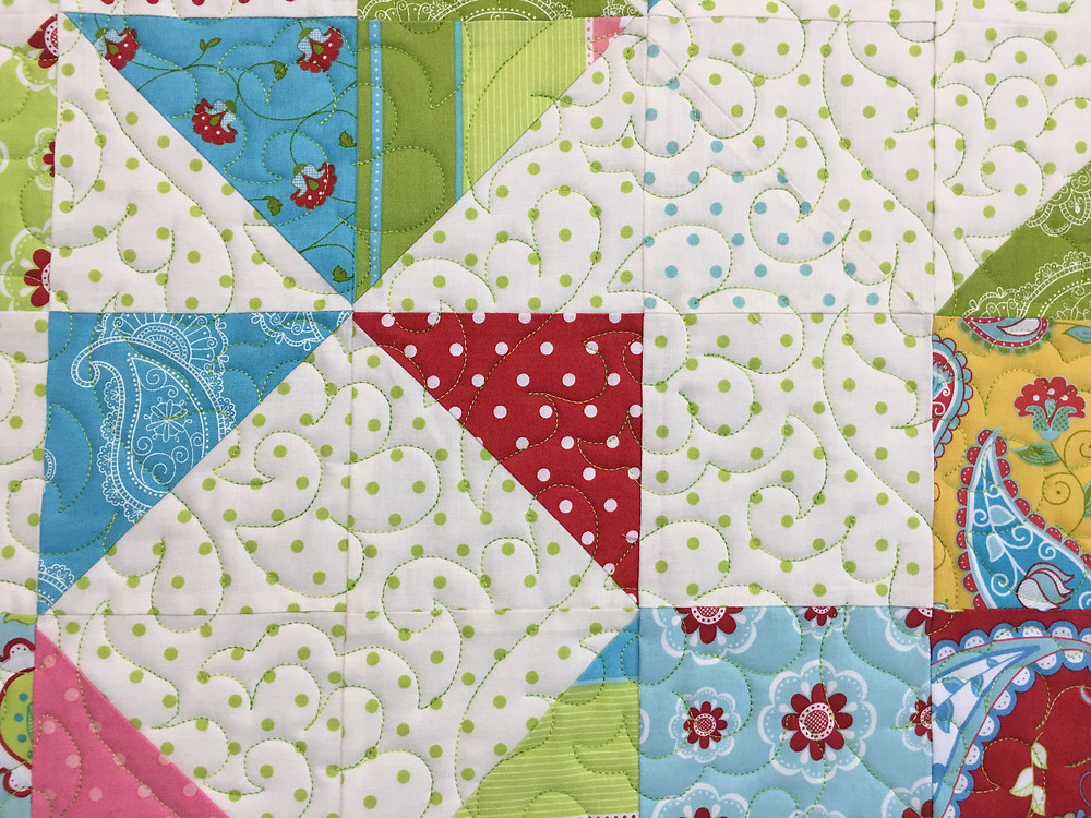 Feathers Quilting Pattern on Star Wall Hanging Quilt by Nancy Nesbaum