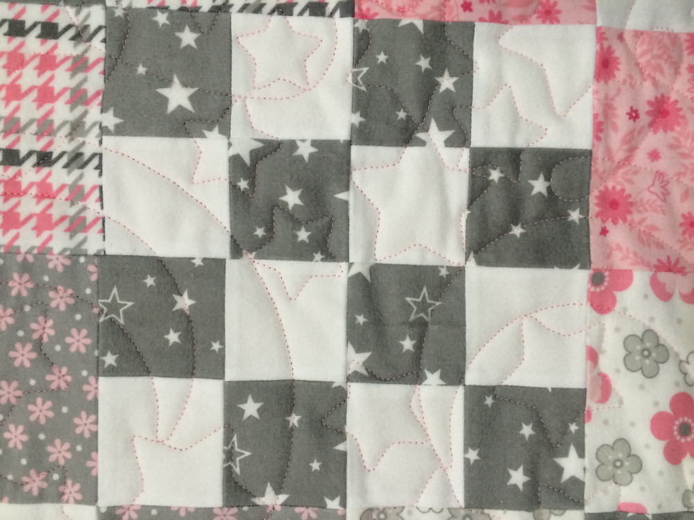close up of Leslie St.Onge Block Baby Quilt