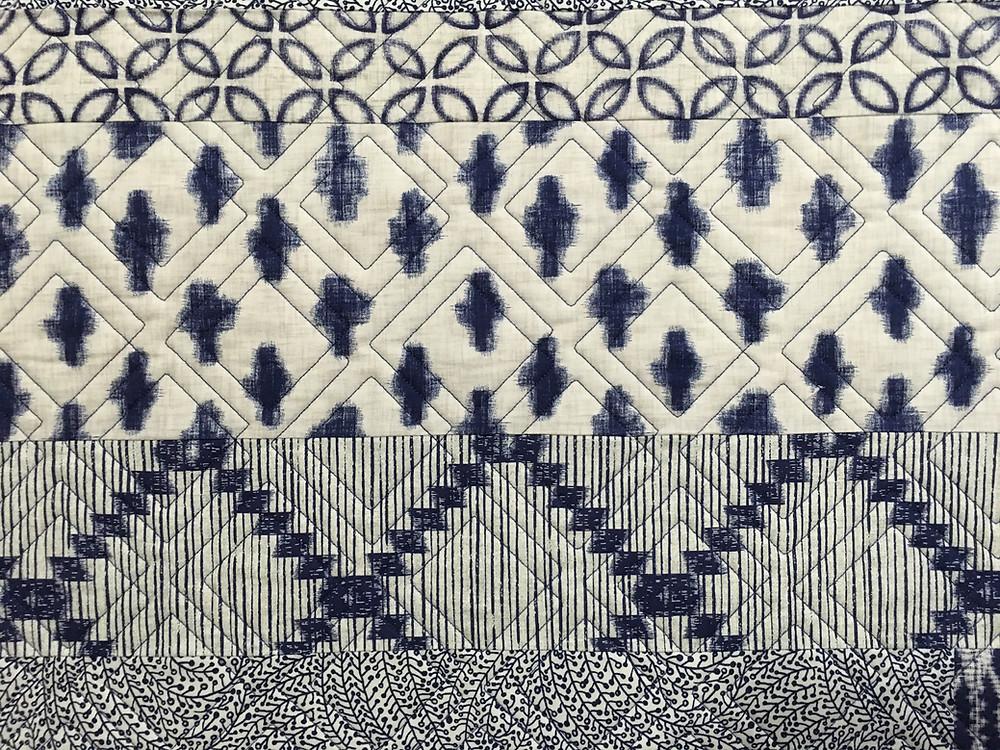 closeup of Beth Blue Indigo Quilt