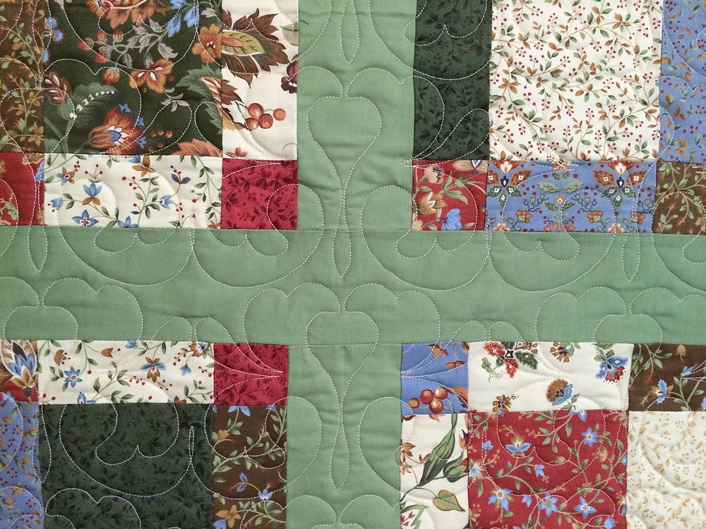 closeup of backing fabric showing floral quilting design