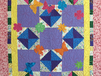 Jennifer Adams Bright Flowers and Butterfly Quilt