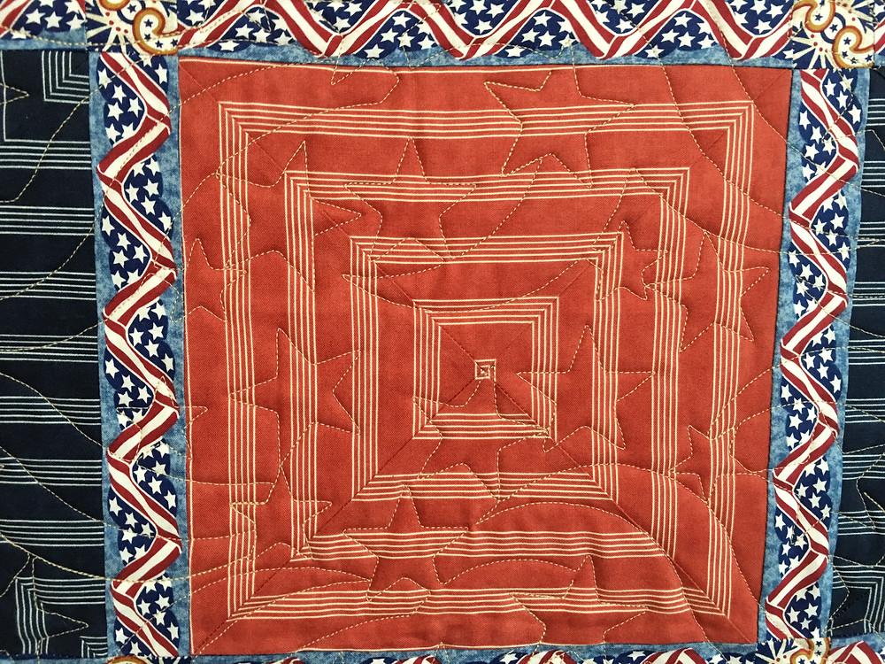 Closeup of Penny's Americana Quilt