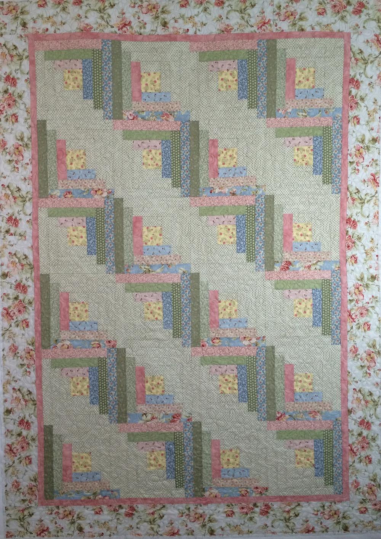 log cabin quilt in floral prints