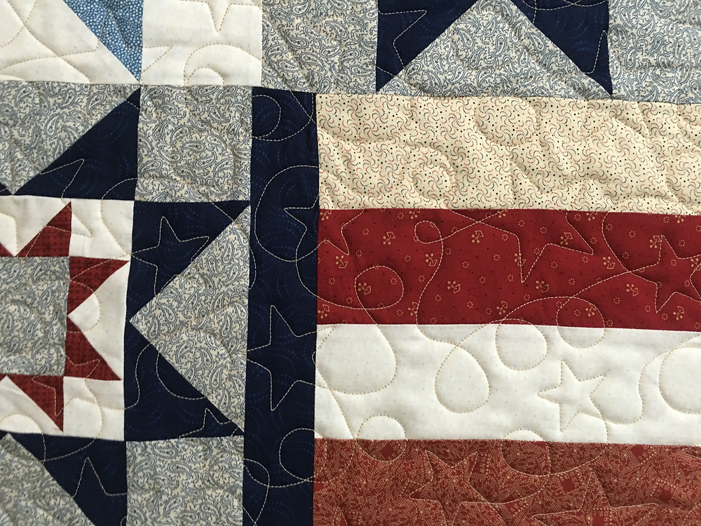 Closeup of Chris Three Tours Patriotic Quilt