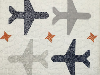 Jocelyn Robinson Baby Quilt with Airplanes