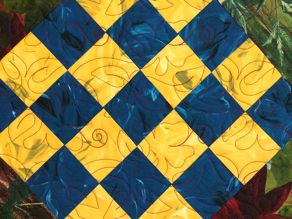 Close up of Beth Robertson Block on Point Quilt