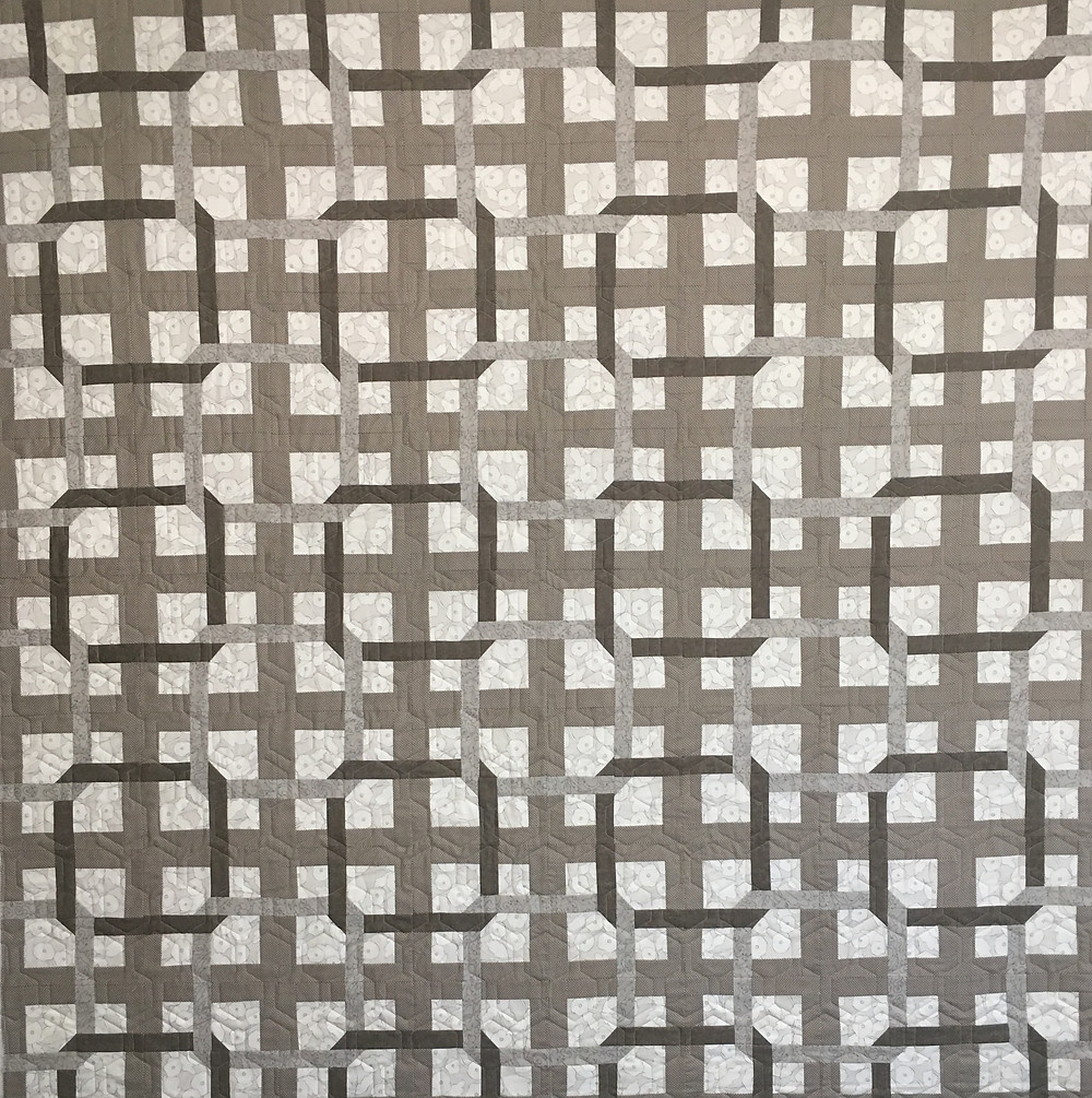 Taupe and White Geometric Quilt by Jill Seward