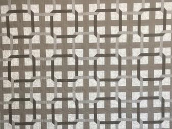 Jill Seward Taupe and White Geometric Quilt