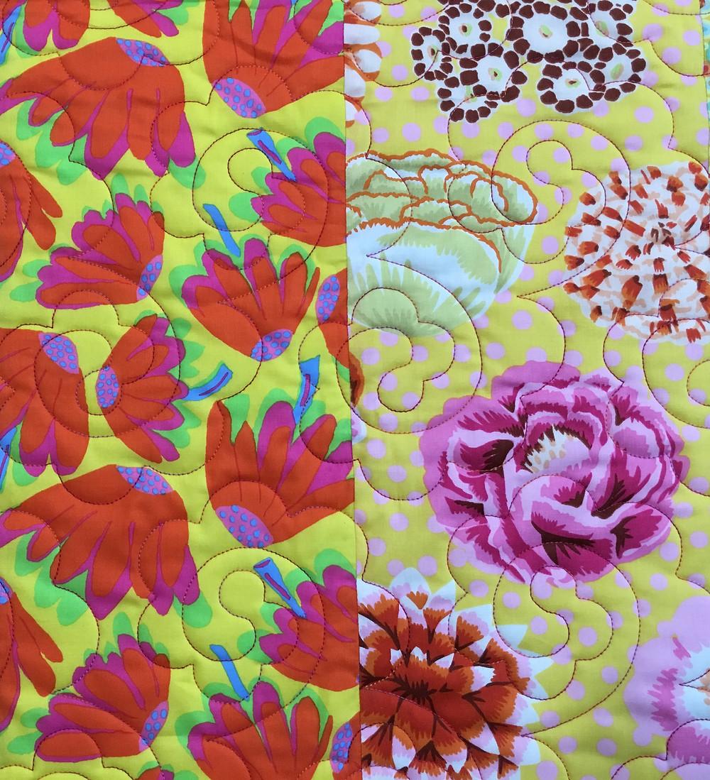 closeup of floral quilting design on Delfina's Easy Living Villa Rosa Quilt
