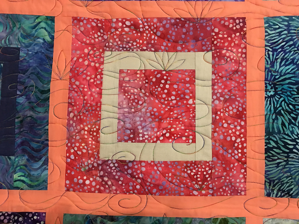 Curves Quilting Pattern on Square Dance Quilt by Penny Wheat