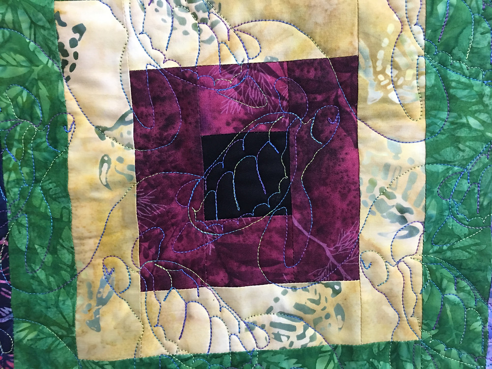 Turtles Quilting Pattern on Around the Village Square Quilt by Mary VanHoomissen