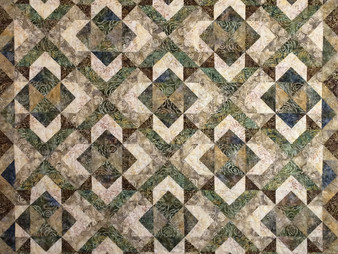 Cynthia Parra Green and Brown Batiks Quilt
