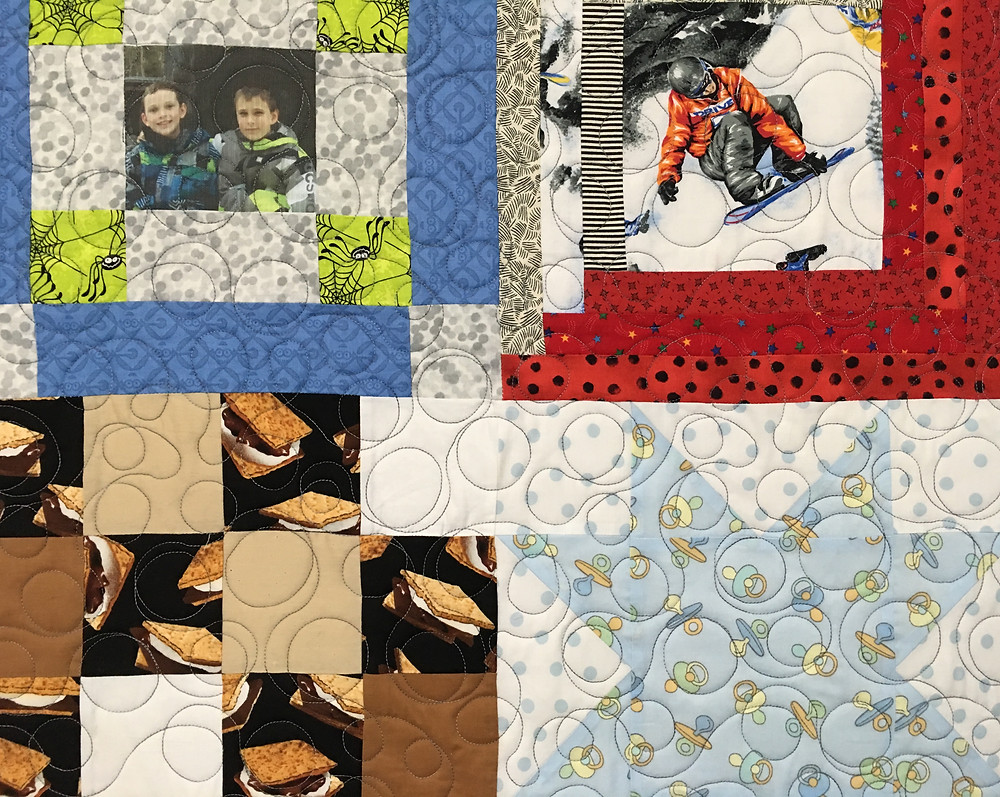 Another Closeup of Mrs. Maker Boys Memory Quilt