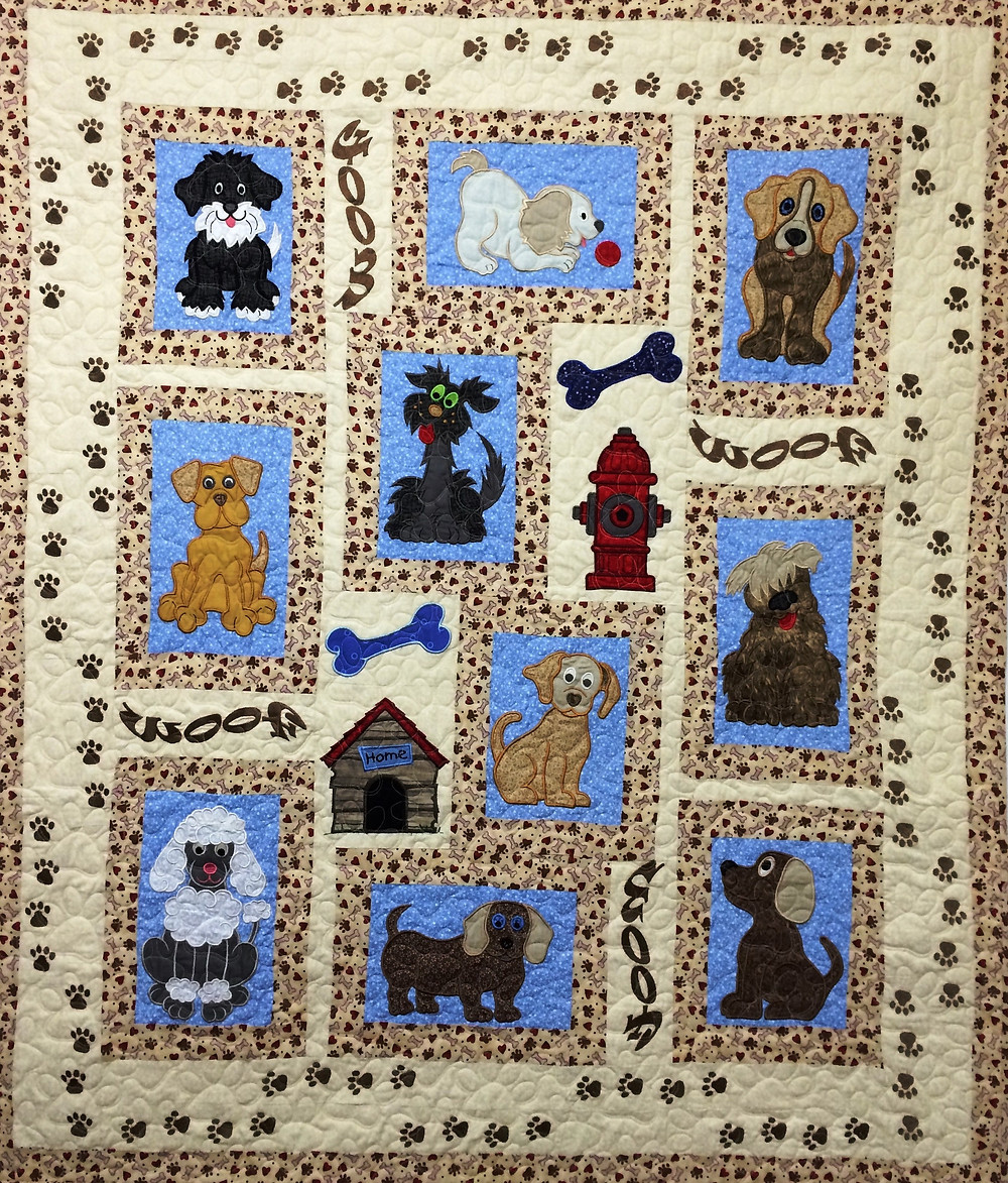 A Dogs Life Quilt by Patricia Foret