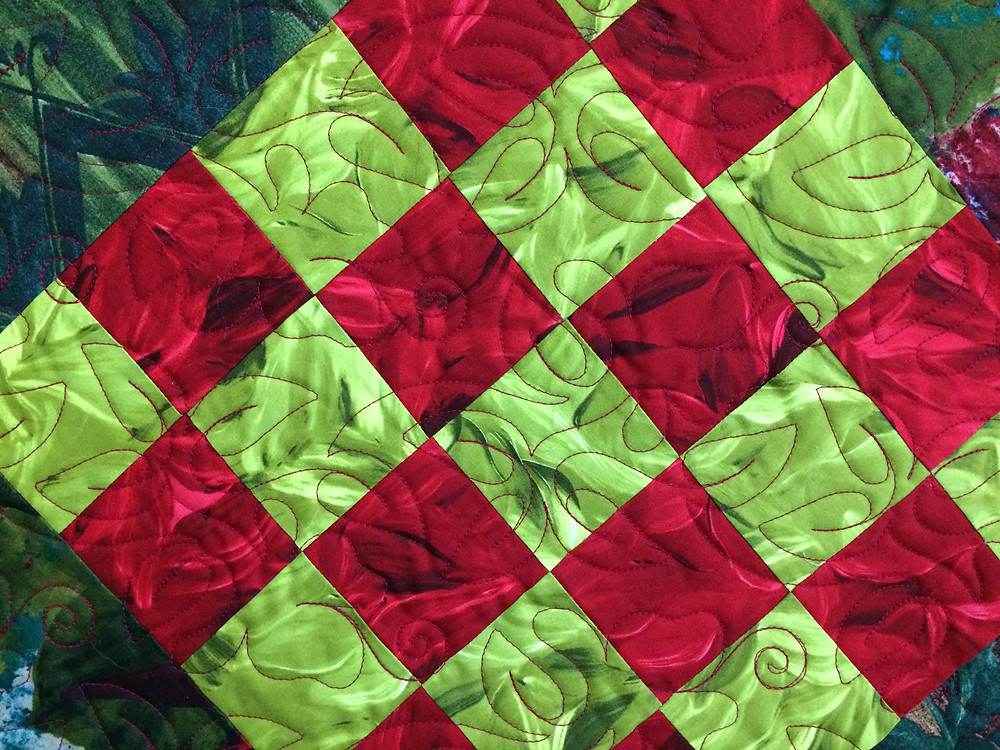 another closeup of Beth Robertson Block on Point Quilt