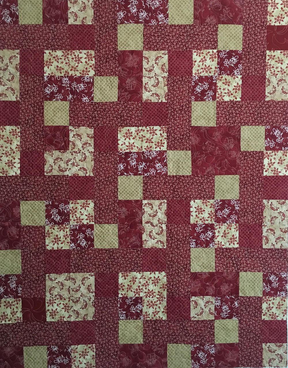 Red and Gold blocks quilt by Linda Maker