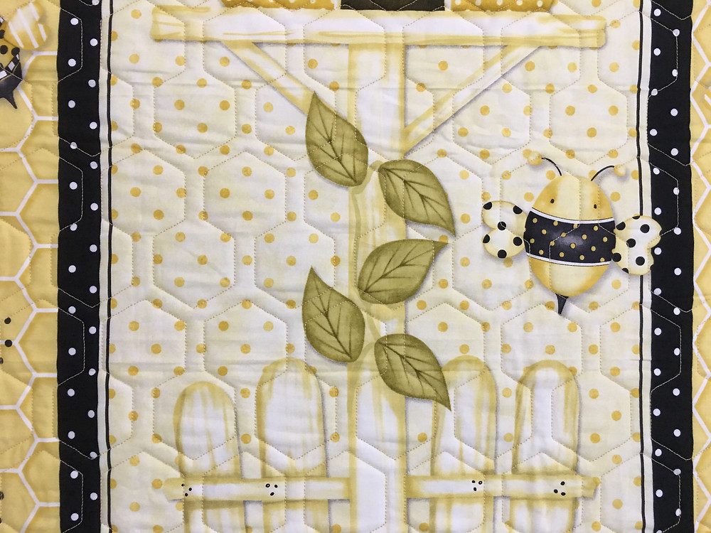 Another close of Geometric Quilting Pattern on Bee Happy Quilt